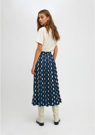 Boiled egg print pleated midi skirt with elasticated waist -  Compañía Fantástica