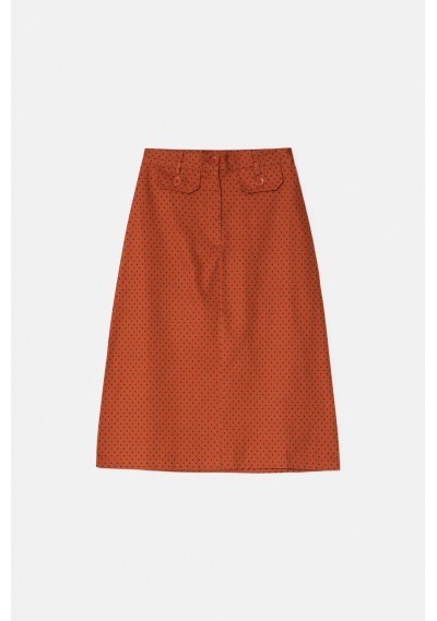 Brown polka dot print high-waisted straight skirt -  Compañía Fantástica