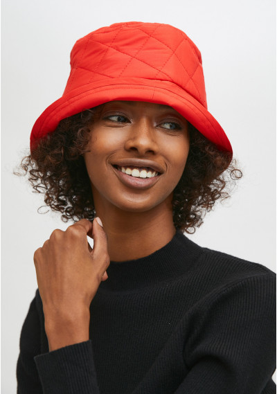 Red padded bucket hat