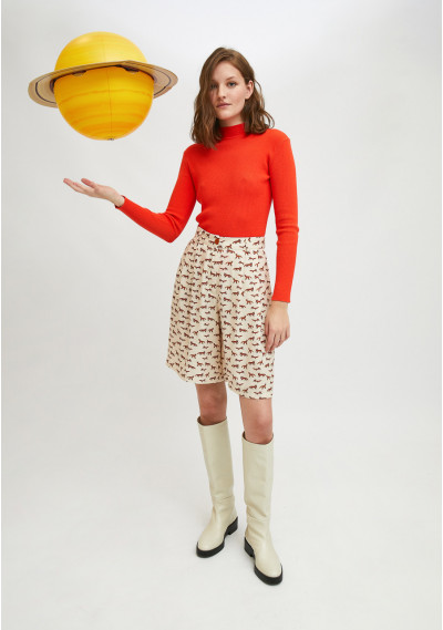 Orange fitted ribbed knit jumper with high neck -  Compañía Fantástica