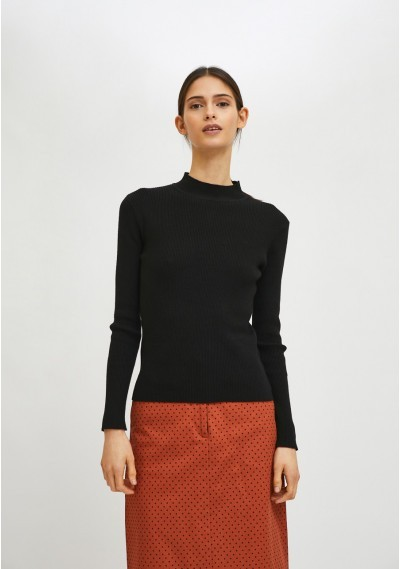 Black fitted ribbed knit jumper with high neck -  Compañía Fantástica