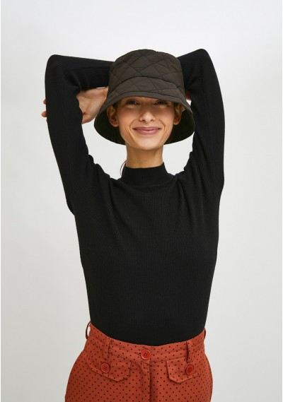 Black fitted ribbed knit...