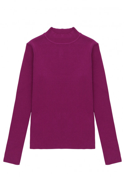 Pink fitted ribbed knit jumper with high neck -  Compañía Fantástica