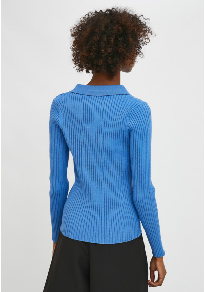 Blue fitted ribbed knit jumper with polo neck -  Compañía Fantástica