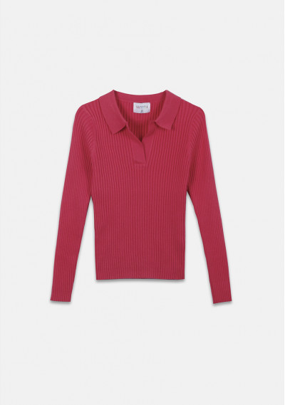 Pink fitted ribbed knit jumper with polo neck -  Compañía Fantástica