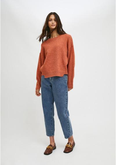 Orange knit jumper with asymmetric hem and ribbed detail -  Compañía Fantástica