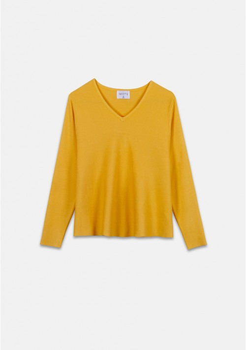 Yellow flared-cut knit jumper with ribbed V-neck - Compañía Fantástica