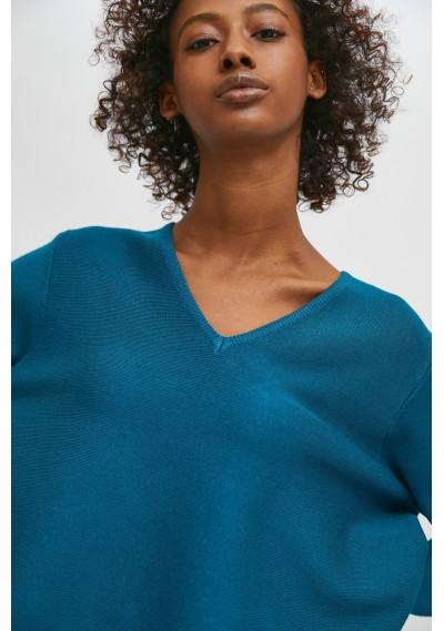 Blue flared-cut knit jumper with ribbed V-neck -  Compañía Fantástica