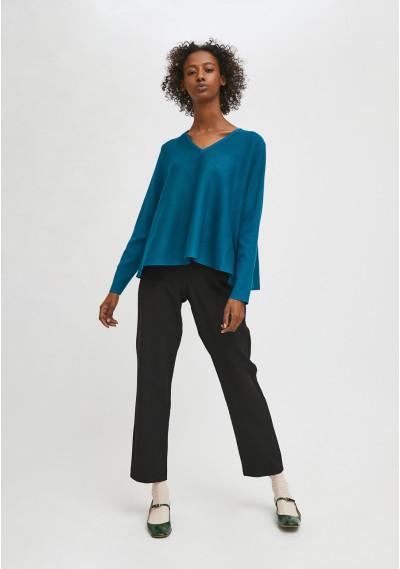 Blue flared-cut knit jumper...