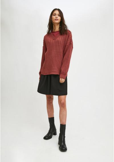 Pink ribbed knit oversized jumper with V-neck -  Compañía Fantástica