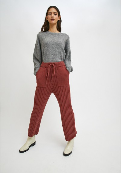 Pink ribbed knit high-waisted trousers with front pockets -  Compañía Fantástica