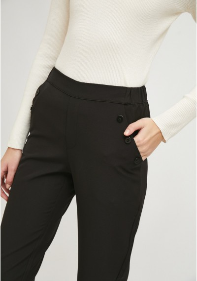 Black cropped straight-leg trousers with decorative buttons -  Compañía Fantástica