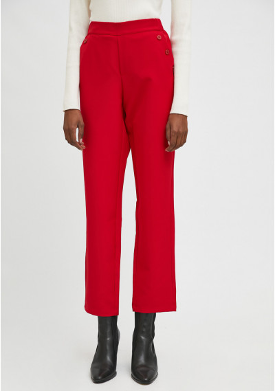 Red cropped straight-leg trousers with decorative buttons -  Compañía Fantástica