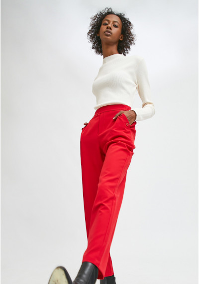Red cropped straight-leg...