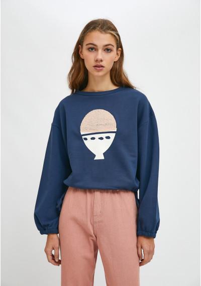 Boiled egg print cotton crop sweatshirt -  Compañía Fantástica
