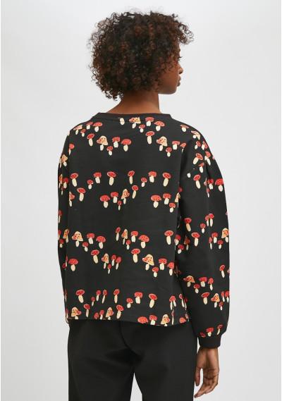Toadstool print cotton smock sweatshirt -  Compañía Fantástica