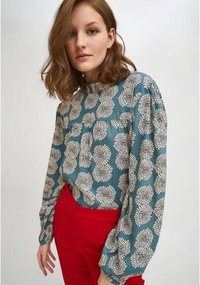 Floral chrysanthemum print high neck top with back bow detail -  Compañía Fantástica
