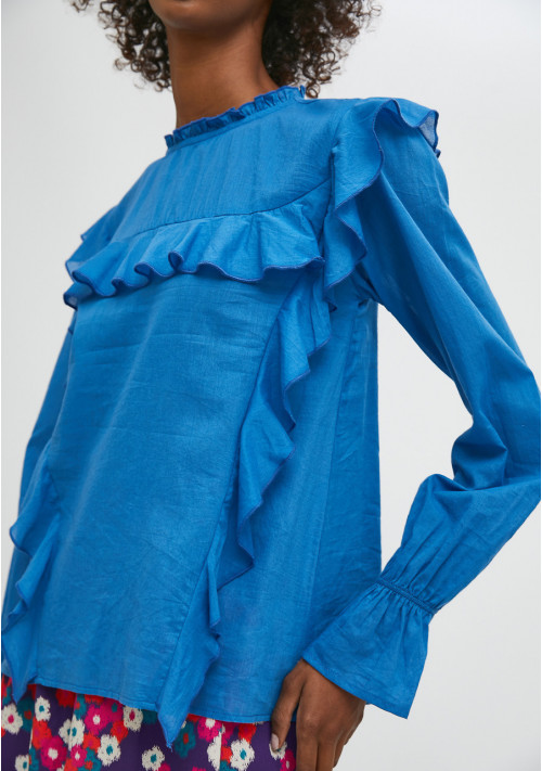 Blue top with puff sleeves and ruffle detail - Compañía Fantástica