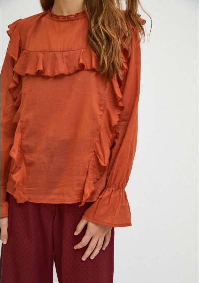 Brown top with puff sleeves and ruffle detail -  Compañía Fantástica