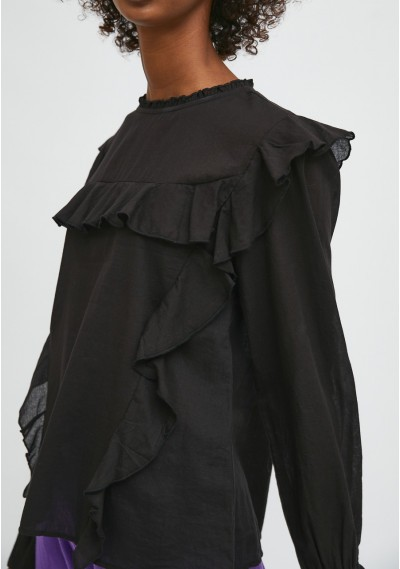 Black top with puff sleeves...