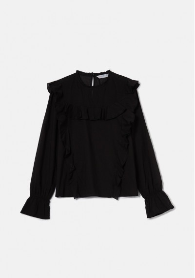 Black top with puff sleeves and ruffle detail -  Compañía Fantástica