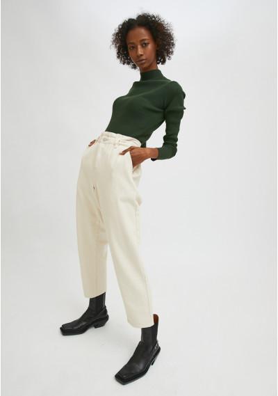 White high-waisted jeans with elasticated waist -  Compañía Fantástica