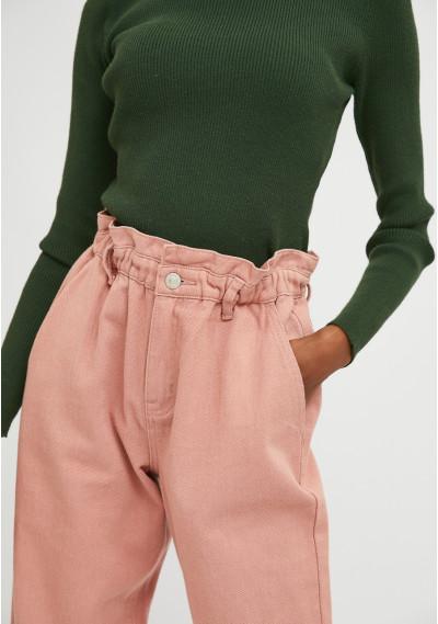 Pink high-waisted jeans with elasticated waist -  Compañía Fantástica
