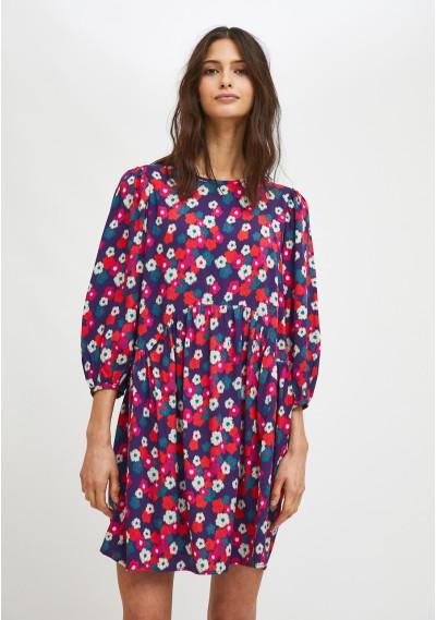Violet floral print loose-fit mini dress -  Compañía Fantástica