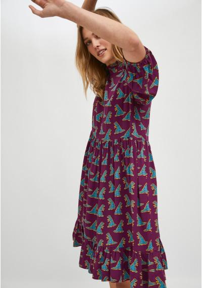 Dinosaur print mini babydoll dress -  Compañía Fantástica