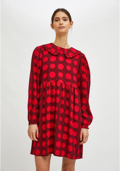 Vestido babydoll corto con estampado de lunares rojos -  Compañía Fantástica