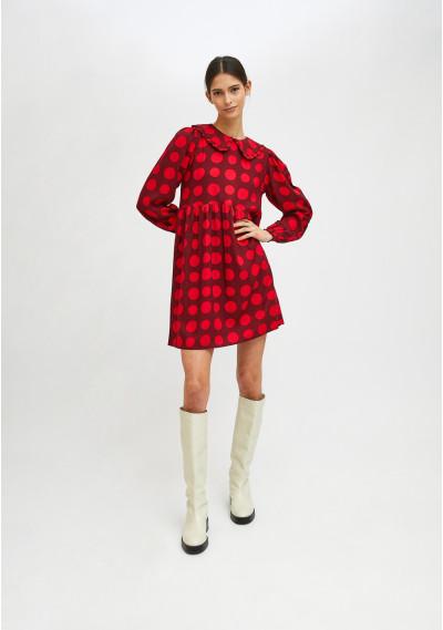 Red polka dot print mini babydoll dress -  Compañía Fantástica