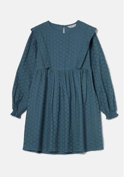 Vestido babydoll corto con pliegues gris en tejido troquelado gris -  Compañía Fantástica