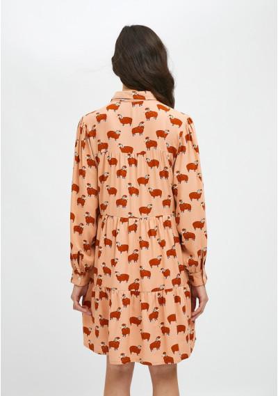 Vestido camisero corto con animal print de carneros -  Compañía Fantástica