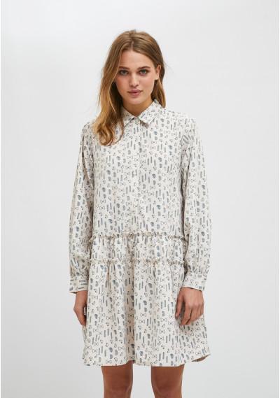 Vestido camisero corto con estampado geométrico de pasta -  Compañía Fantástica