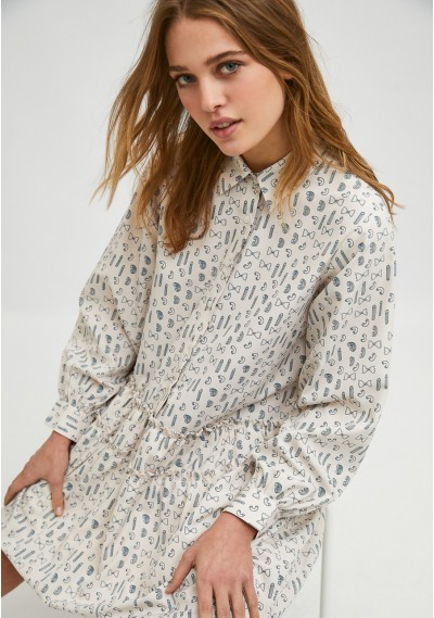 Geometric pasta print mini shirt dress -  Compañía Fantástica