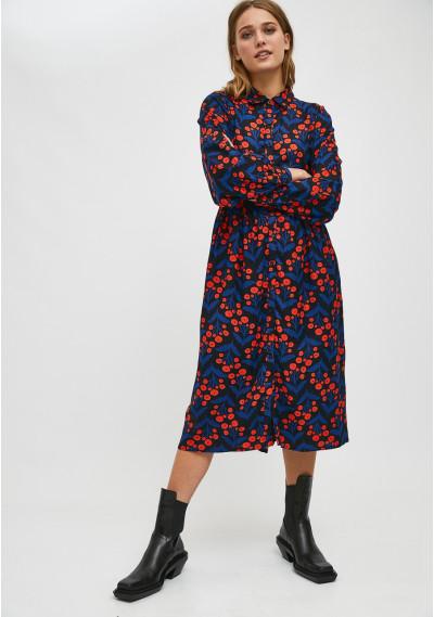 Floral poppy print midi shirt dress -  Compañía Fantástica
