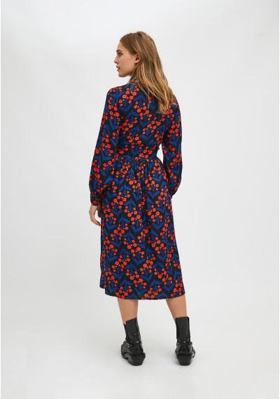 Vestido camisero midi con estampado floral de amapolas -  Compañía Fantástica