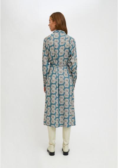 Floral chrysanthemum print midi shirt dress -  Compañía Fantástica