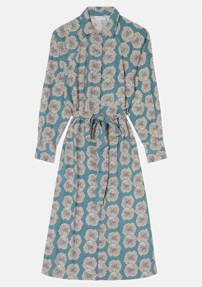 Vestido camisero midi con estampado floral de crisantemos -  Compañía Fantástica
