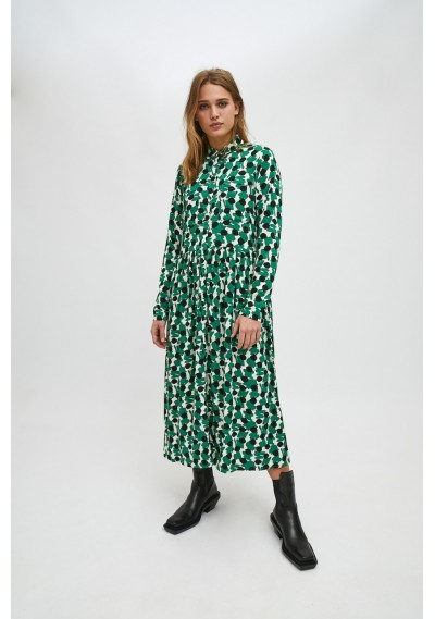 Green geometric print midi...