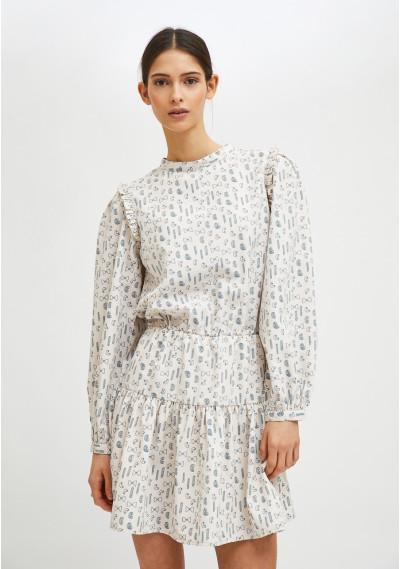 Geometric pasta print mini dress with ruffle detail -  Compañía Fantástica