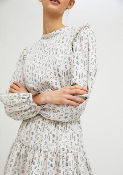 Vestido corto con volantes estampado geométrico de pasta -  Compañía Fantástica