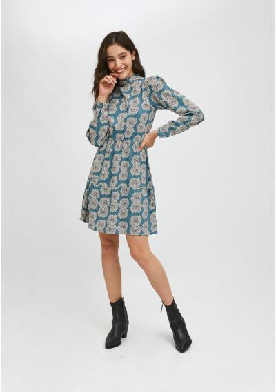 Vestido corto de cuello alto con estampado floral de crisantemos -  Compañía Fantástica
