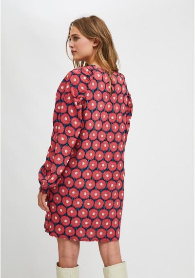 Vestido evasé corto con estampado floral de caléndulas -  Compañía Fantástica
