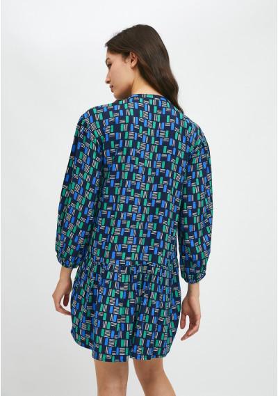 Vestido evasé corto con estampado geométrico de ladrillos -  Compañía Fantástica