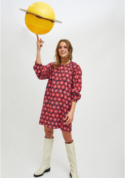 Floral marigold print flared mini dress -  Compañía Fantástica