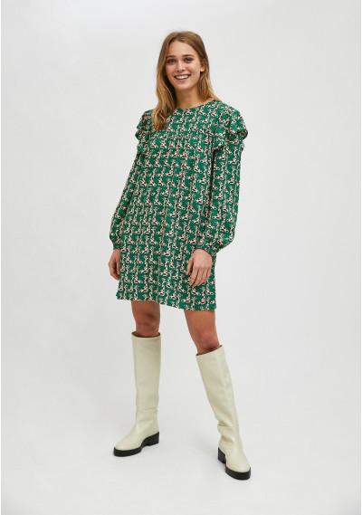 Giraffe print mini smock dress with ruffle detail -  Compañía Fantástica