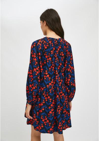 Vestido evasé corto con volantes estampado floral de amapolas -  Compañía Fantástica