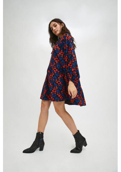 Floral poppy print mini smock dress with tiers -  Compañía Fantástica