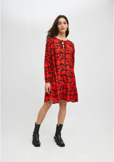 Red and black floral print...